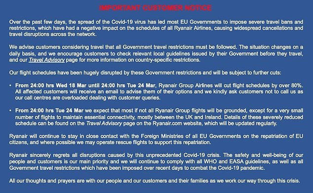 Ryanair offered their customers 'thoughts and prayers'