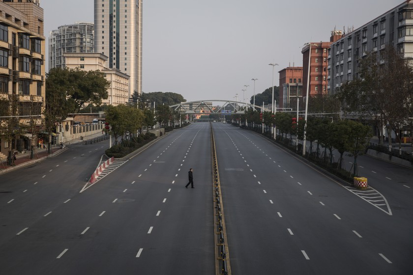 An empty highway in Wuhan, China, during lockdown last month