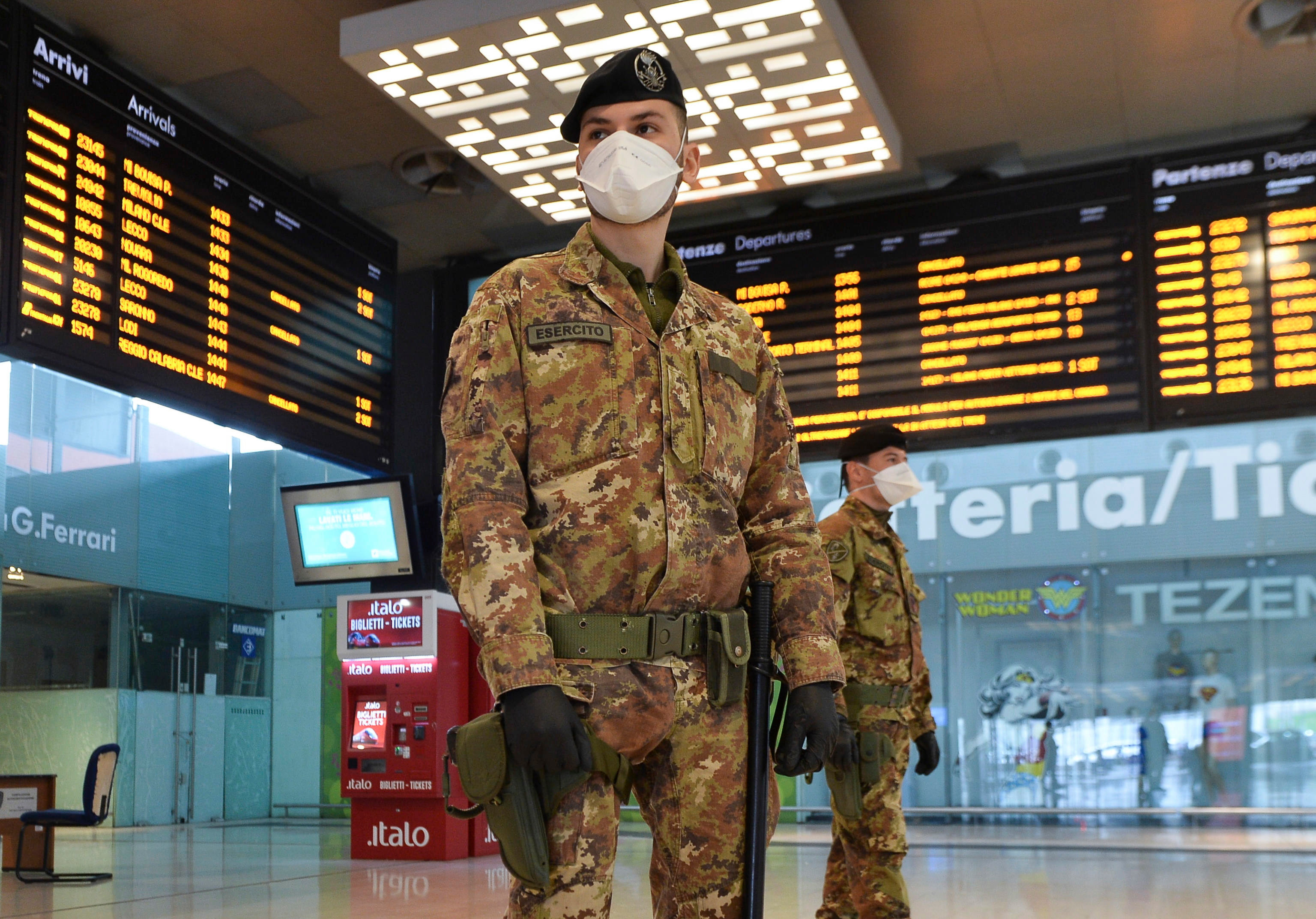 Soldiers are seen guarding a train terminal