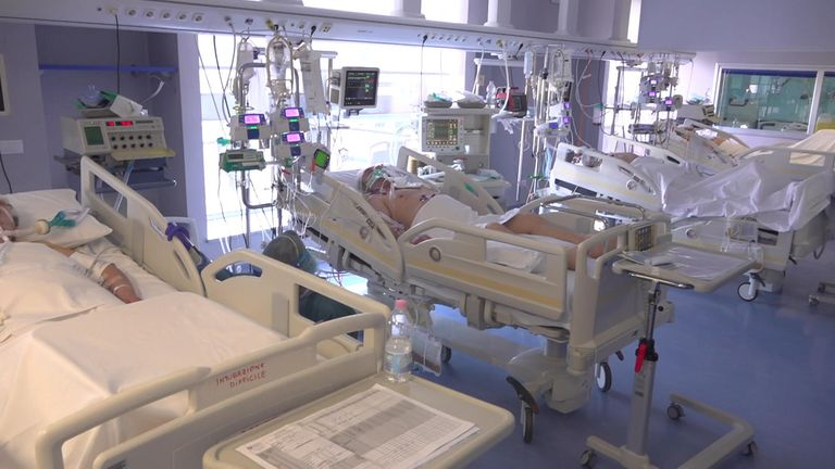 Intensive care ward in hospital in Lombardy, Italy
