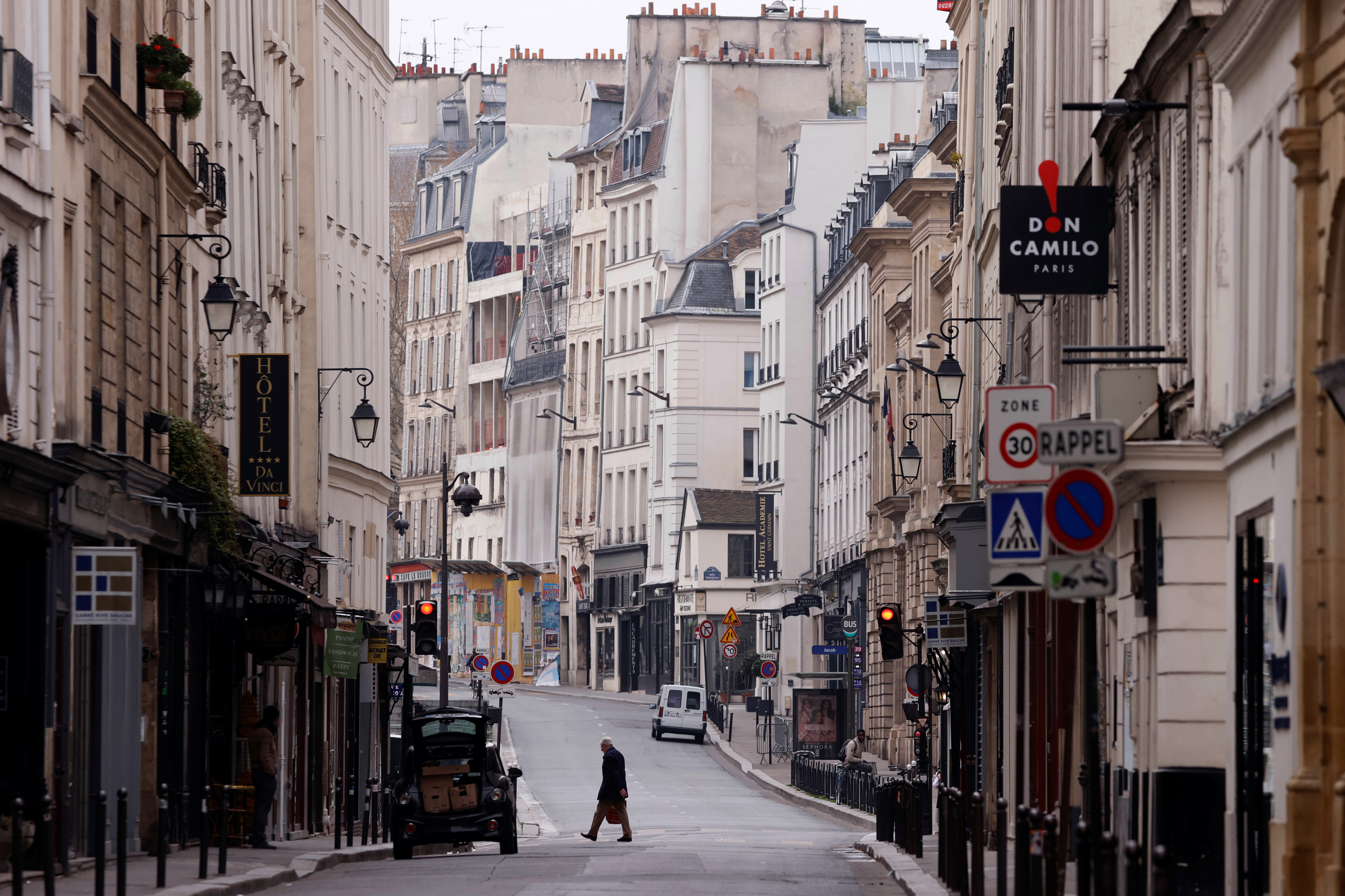 Streets that would normally be bustling are now deserted throughout Paris