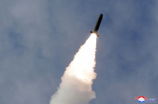 A projectile is launched during a long-range artillery drill by the North Korean army on March 2