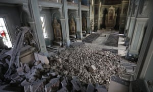 Debris in Zagreb Cathedral after an earthquake.