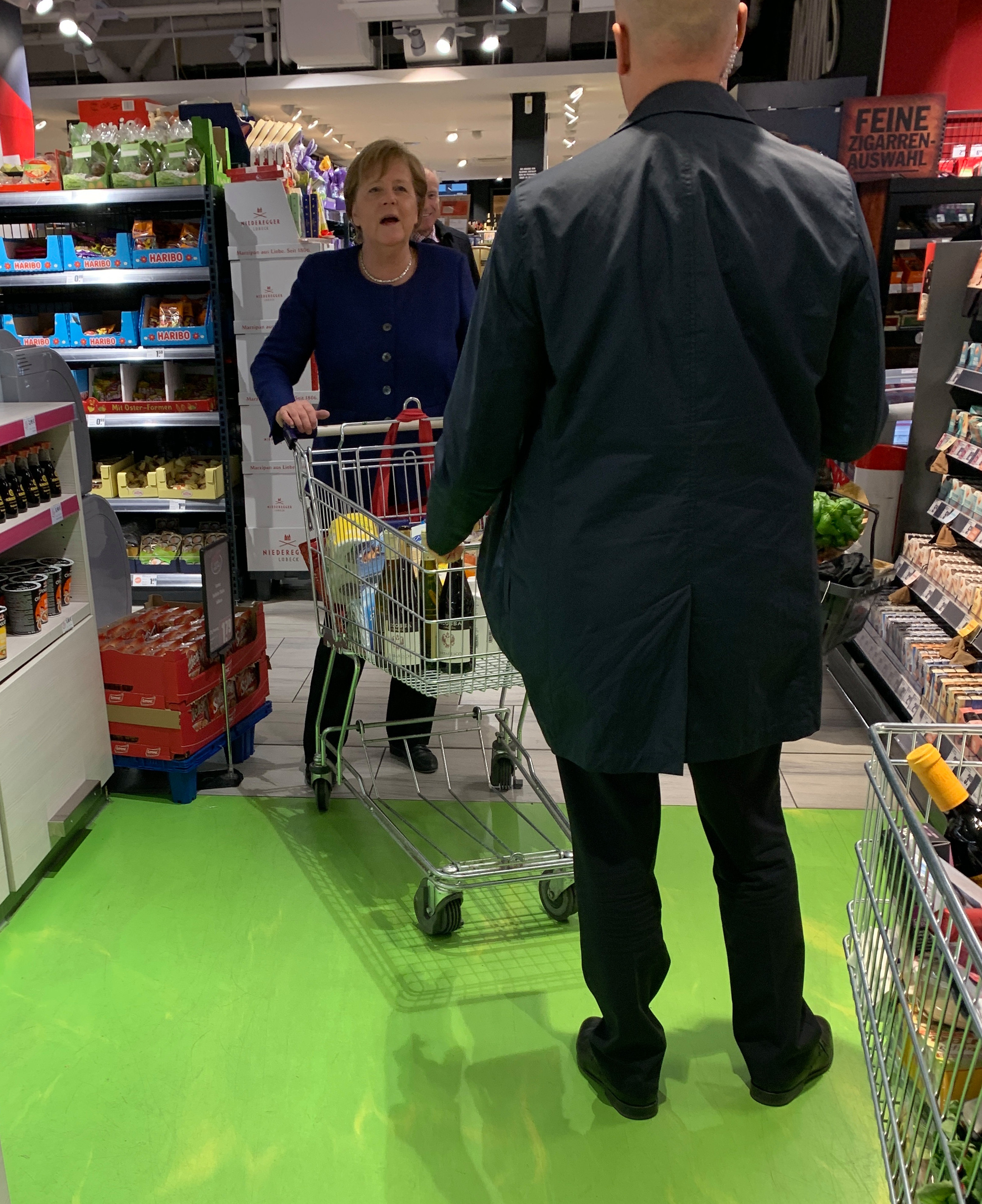 Merkel was also seen with soap in her shopping cart over the weekend