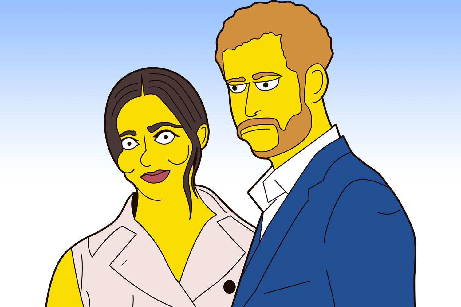The Sussexes (drawn in The Simpsons cartoon style) have not been officially approached about doing a cameo on the show