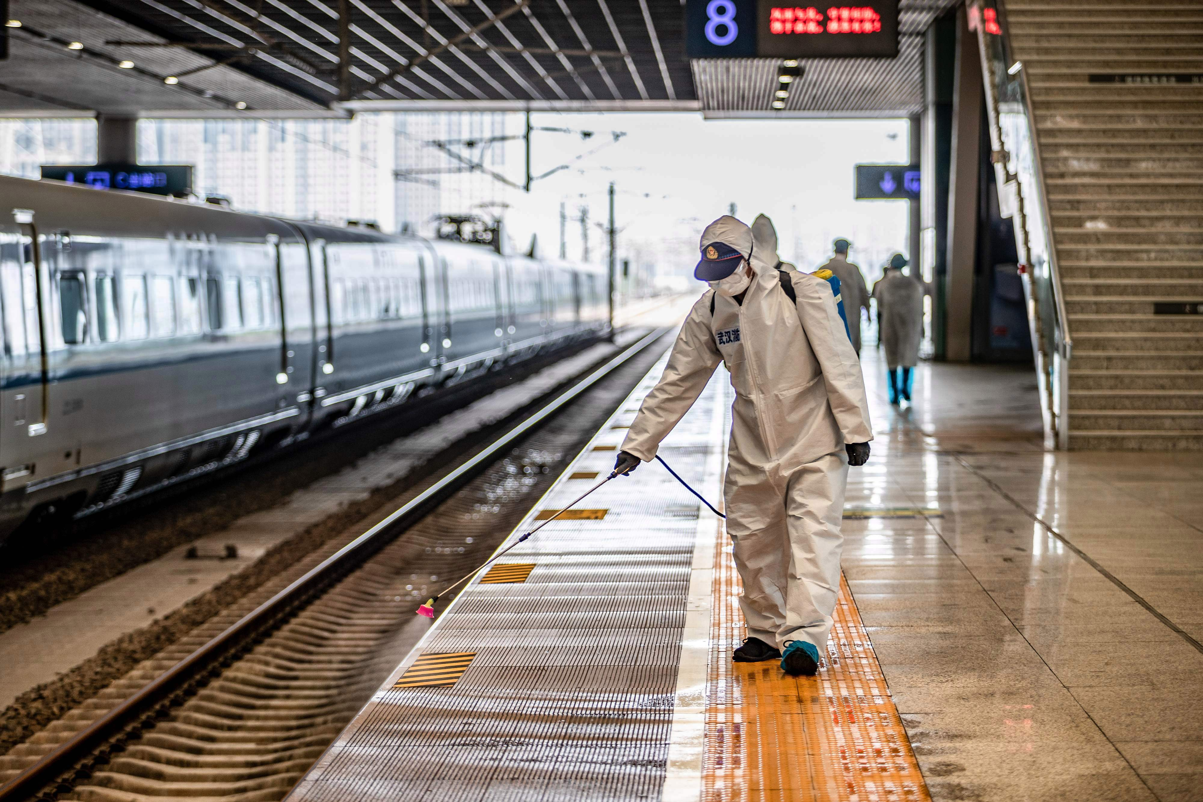 A train station in Wuhan, once the epicentre of the outbreak, is disinfected with the lockdown of city set to be lifted on April 8