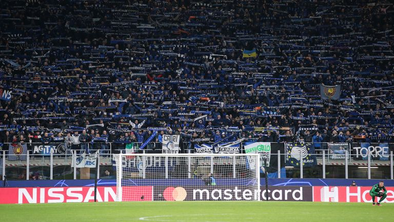 during the UEFA Champions League match at Giuseppe Meazza, Milan. Picture date: 19th February 2020. Picture credit should read: Jonathan Moscrop/Sportimage