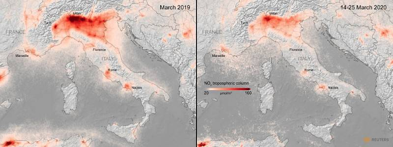 A combination image from the ESA shows the average nitrogen dioxide concentrations from air polluti
