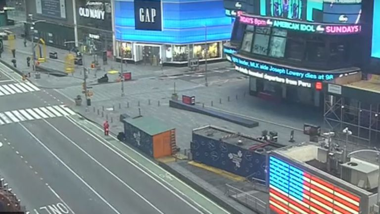 New York's normally busy Times Square was empty on Saturday morning