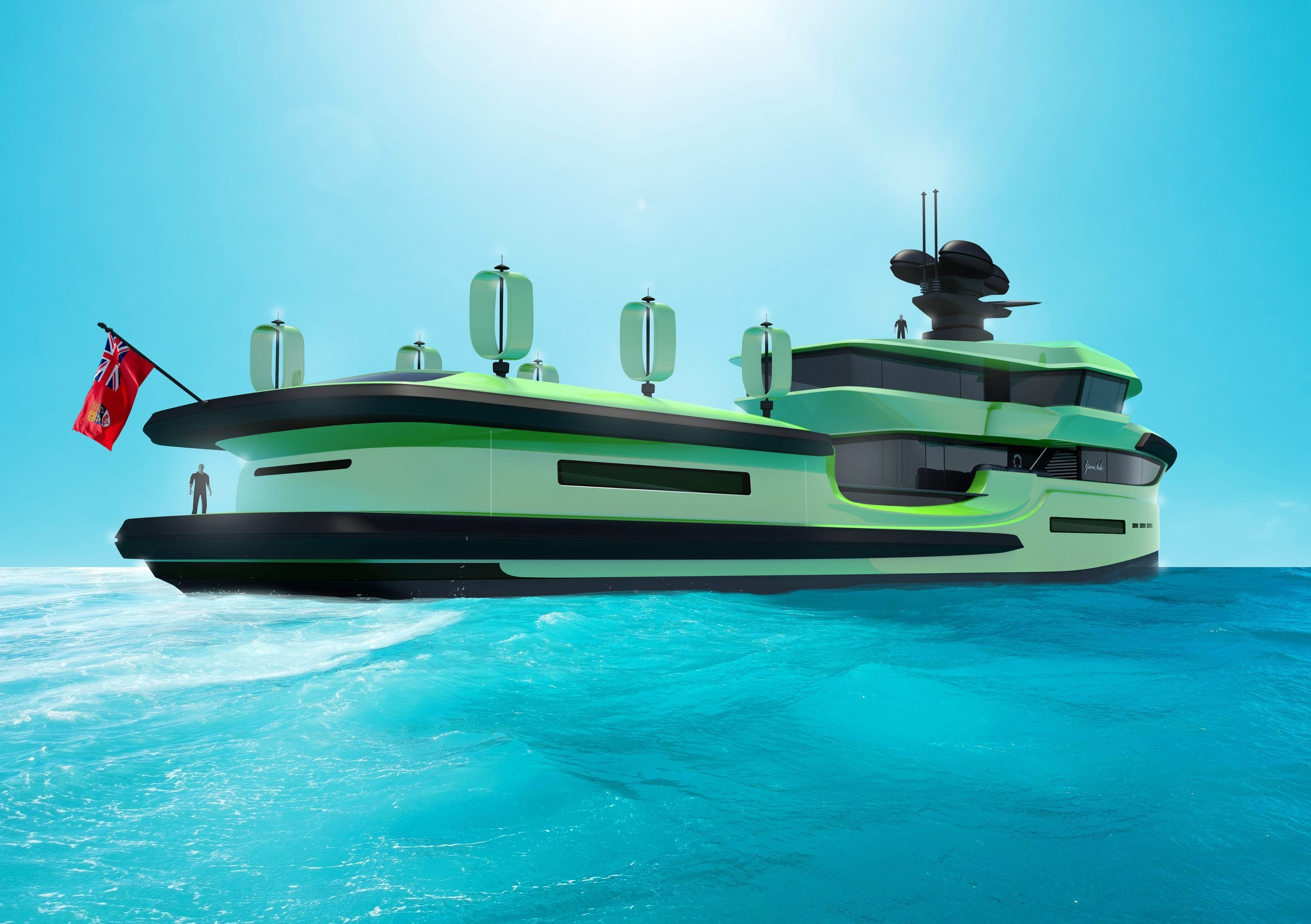 Green Expedition is covered in solar panels and wind turbines so she rarely has to return to port for fuel