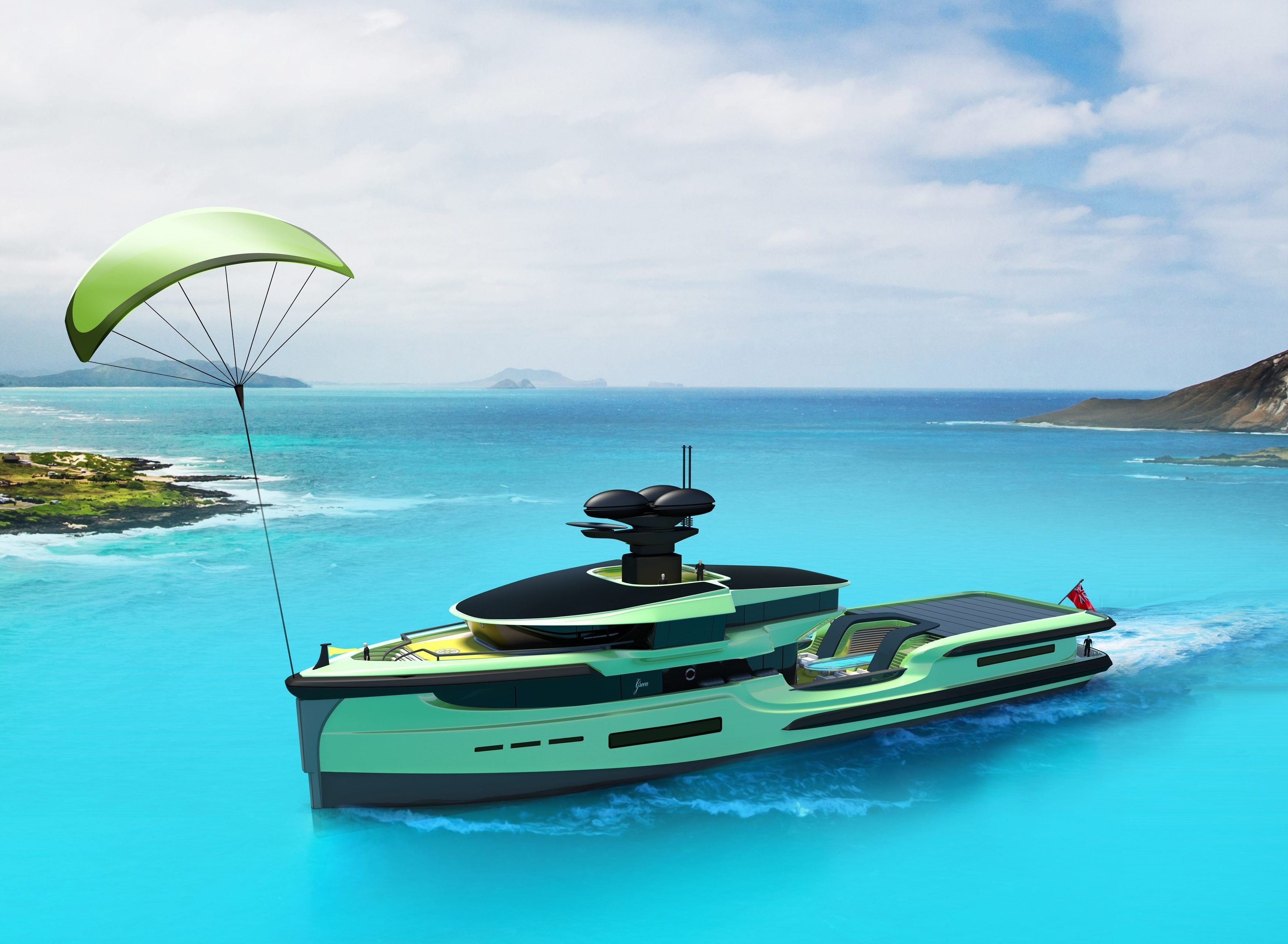Green Expedition's 'skysail' kite rig is designed to propel the ship along and conserve fuel
