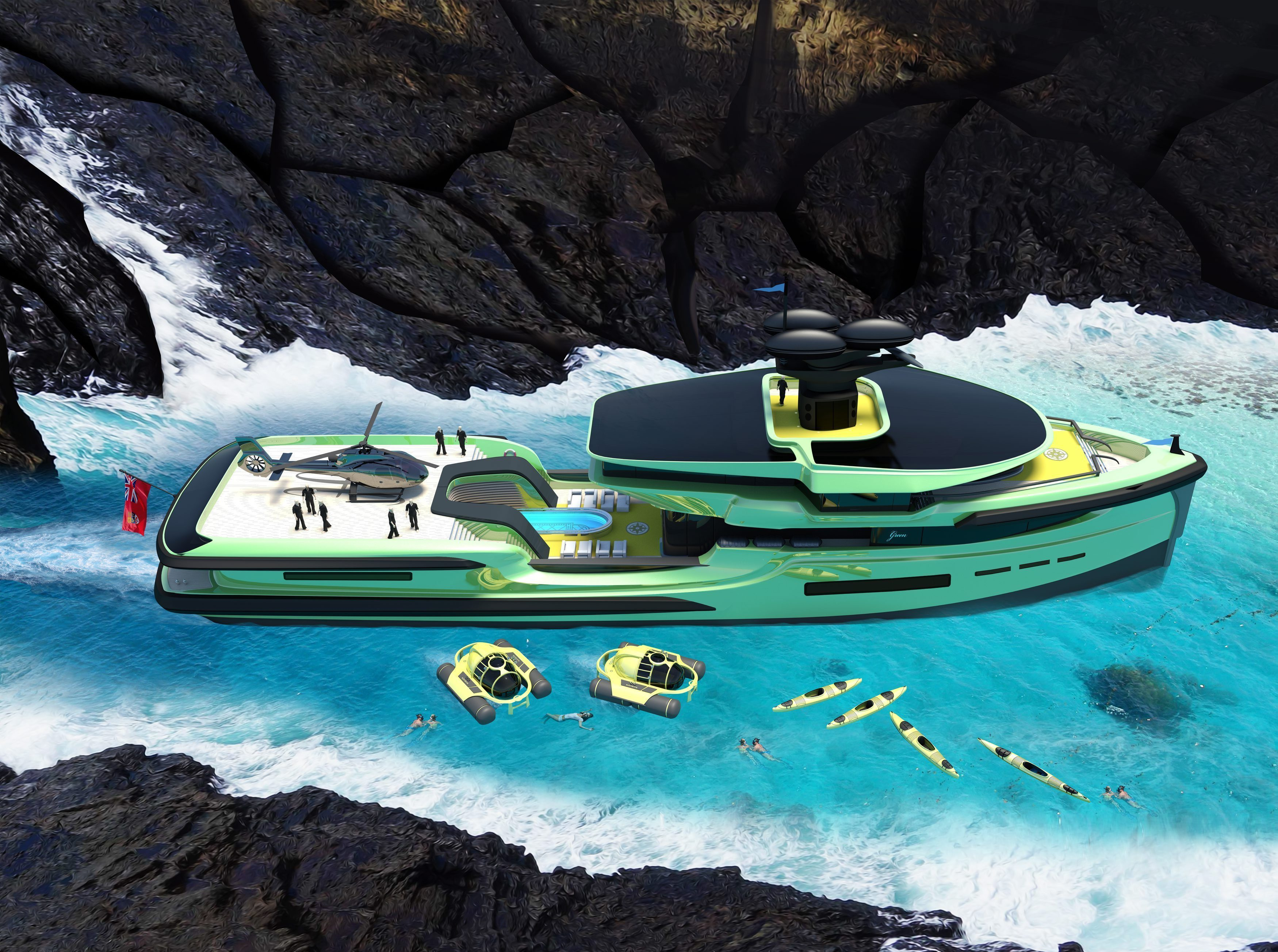Green Expedition comes with its own helicopter, a heated pool and two mini-submarines
