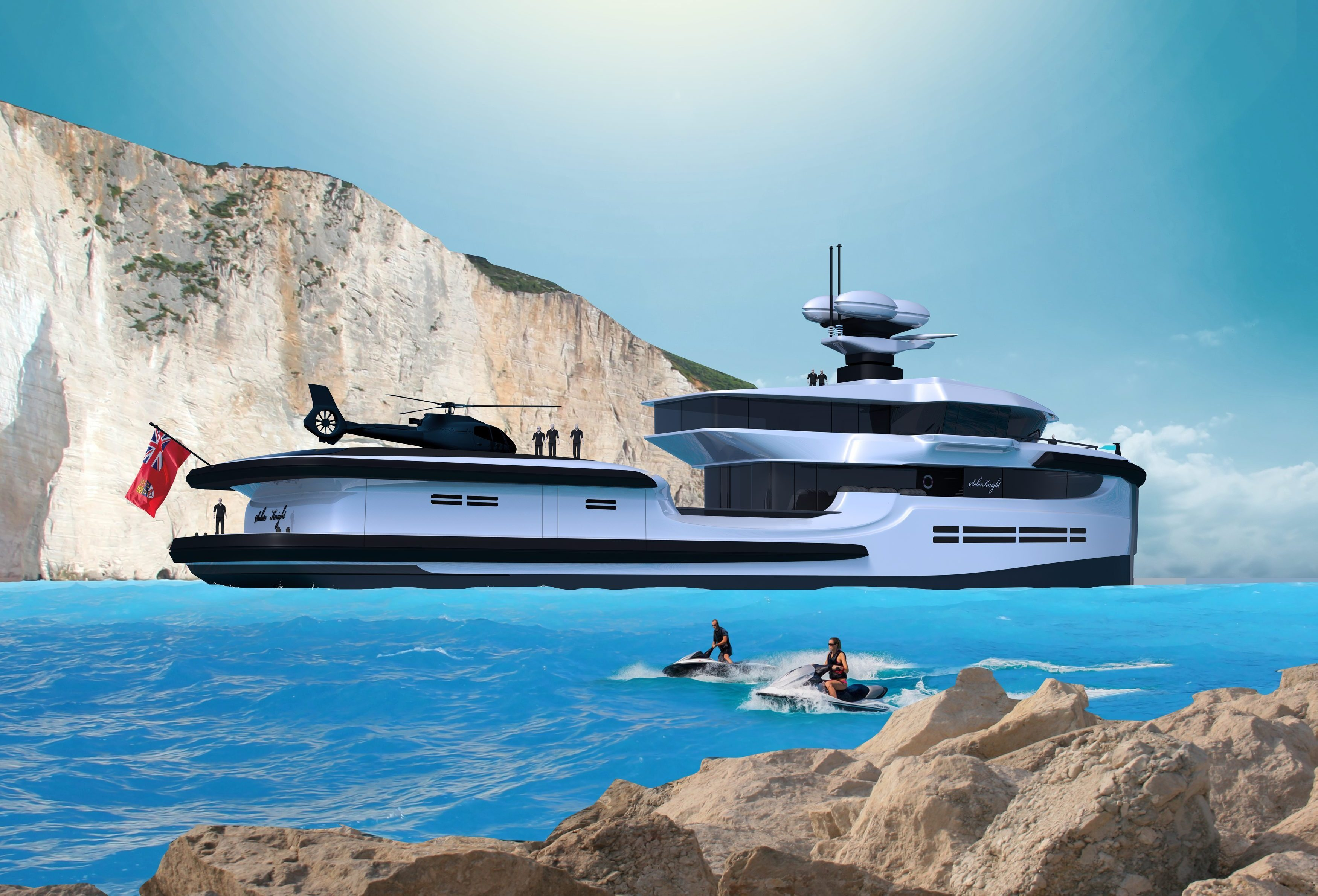 Simply moor up and pop out the jet skis when you sail the seas in Green Expedition
