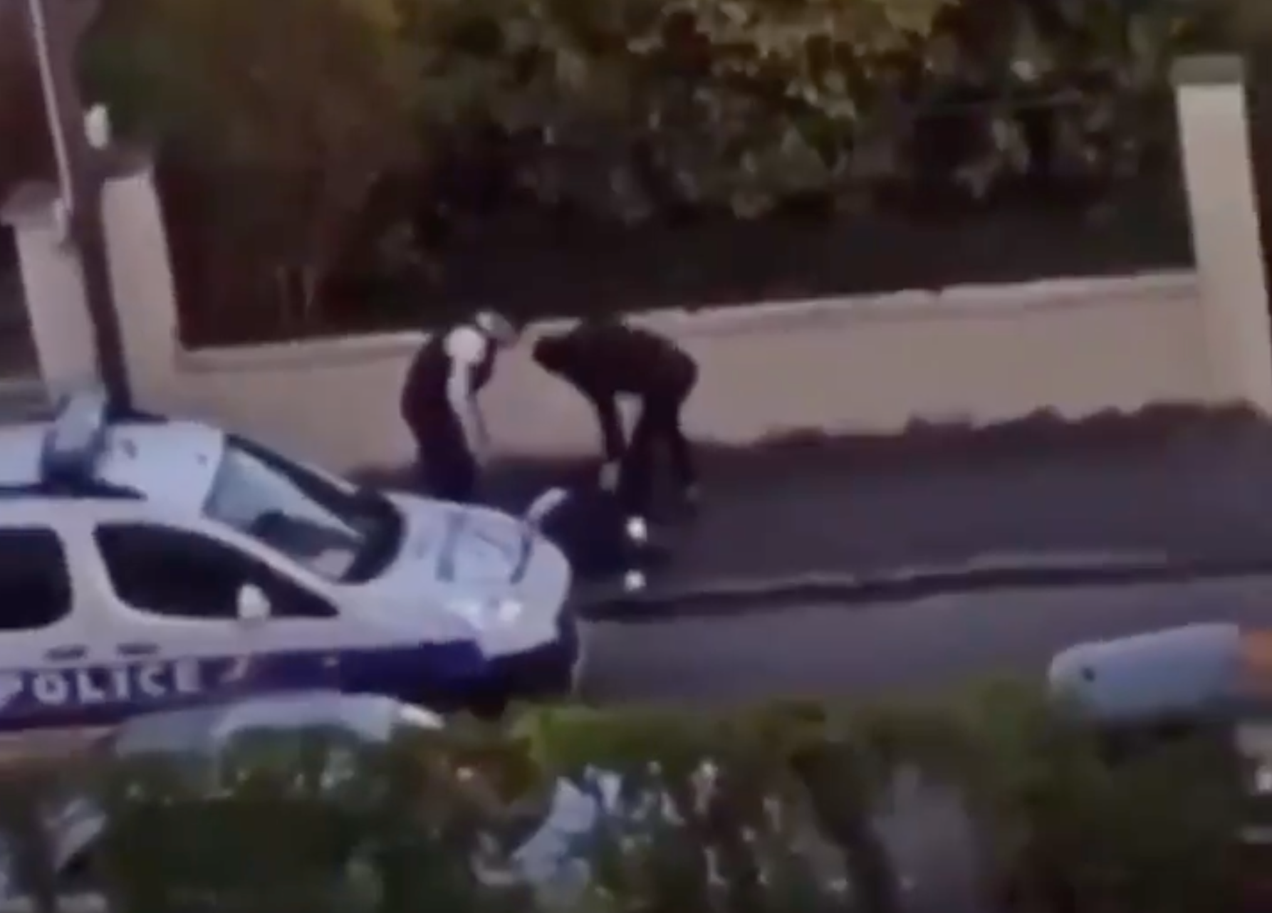 Officers in France appear to beat a person caught outside amid the coronavirus lockdown