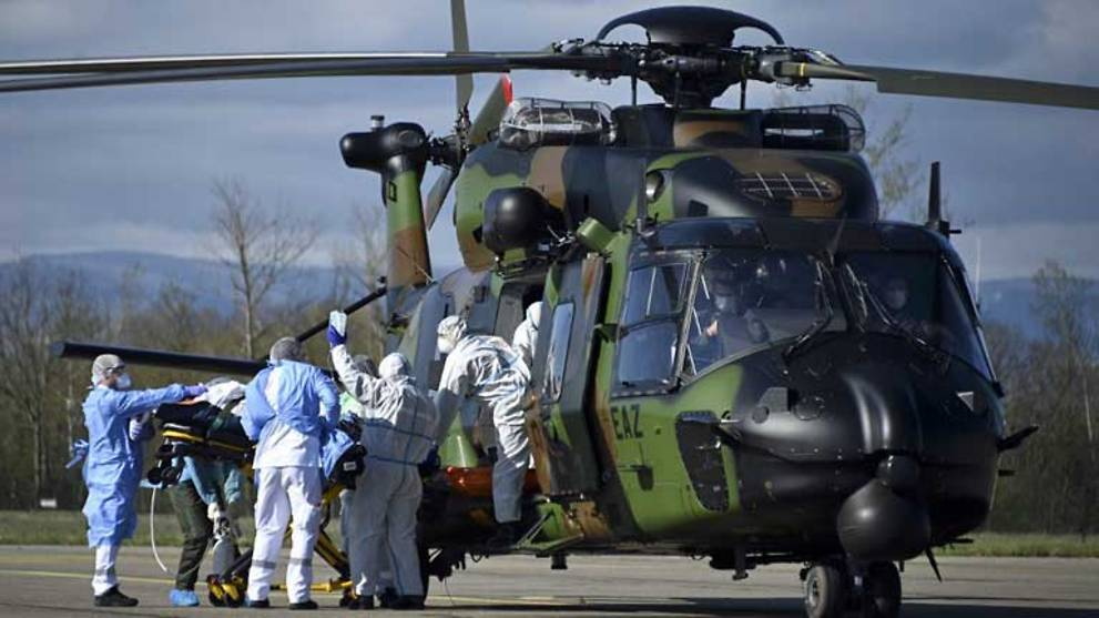France uses army helicopters to ferry critical virus patients abroad