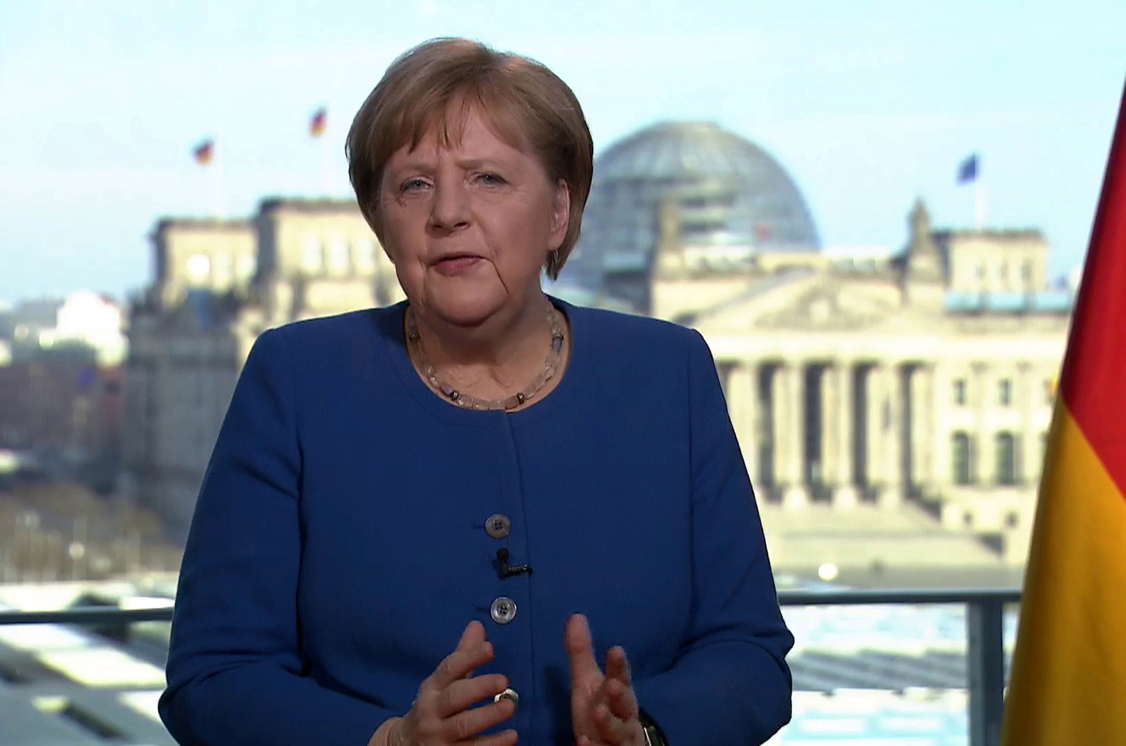 Ms Merkel, 65, was informed about the doctor's test shortly after holding a news conference Sunday