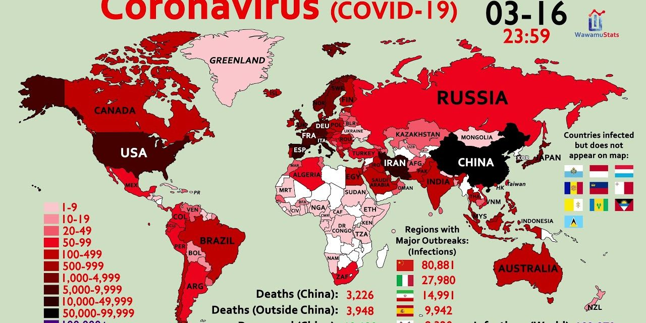 How the Coronavirus Infected 80% of Countries in One Month (2.16-3.16)