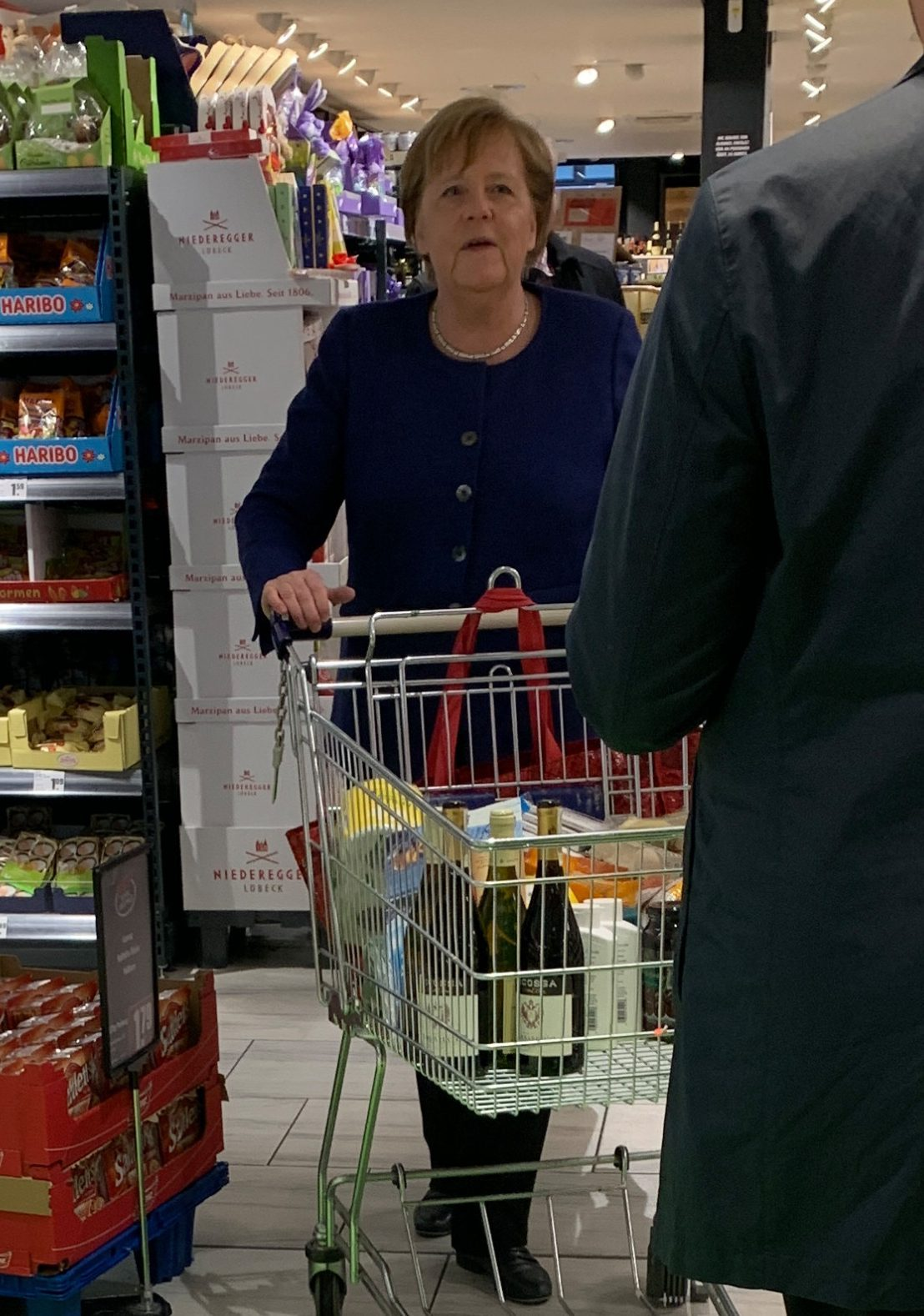German Chancellor Angela Merkel was spotting shopping for loo roll and wine over the weekend